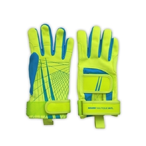 Miami Nautique Water Ski Thin Gloves in Neon Yell